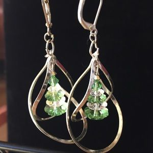 Serling silver looped Xmas tree earrings